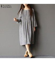 zanzea vestido camisero de manga larga para mujer vestido midi informal de caftán vintage y tops -gris