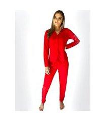 pijama de frio malha - com botões vermelho