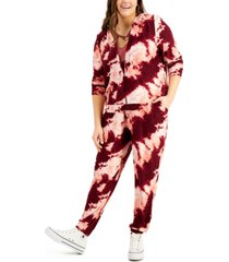 full circle trends trendy plus size 2-pc. tie-dyed hoodie & jogger pants