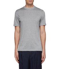 layered collar silk-cotton t-shirt