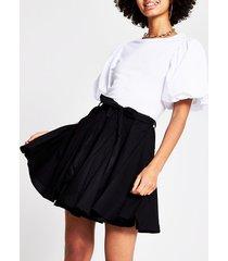 river island womens black full hem mini skirt