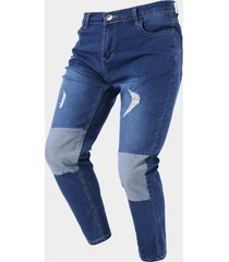 hombre casual color block patch ripped zip front jeans