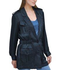 dkny elasticized-waist utility blazer