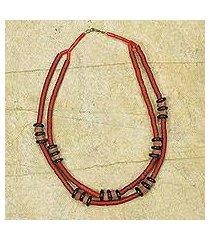 bauxite beaded necklace, 'bubune' (ghana)