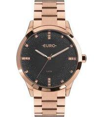 relógio euro glitter fever feminino