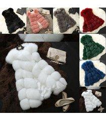 01= women's warm gilet outwear long slim vest faux fox fur waistcoat jacket