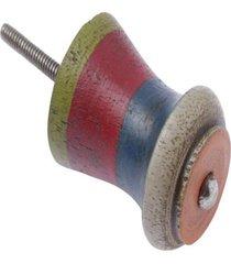 puxador- pashmina- puxador porta madeira- azul e vermelho