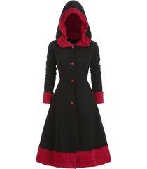 hooded plus size fuzzy trim coat