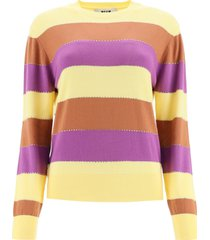 msgm striped sweater with crystals