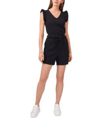 vince camuto ruffle-sleeve knit romper