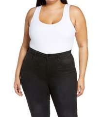 plus size women's good american the feel good ribbed sleeveless stretch cotton blend bodysuit, size 6 - white