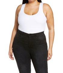plus size women's good american the feel good ribbed sleeveless stretch cotton blend bodysuit, size 7 - white