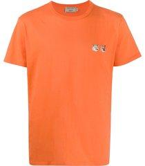 maison kitsuné fox head embroidered t-shirt - orange