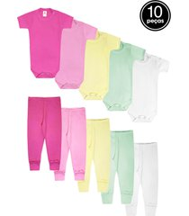 kit 10pçs body culote zupt baby enxoval pink/rosa/amarelo
