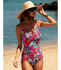 fiji underwire non padded v neck adjustable leg one-piece swimsuit