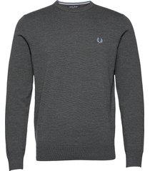 classic c/n jumper stickad tröja m. rund krage grå fred perry