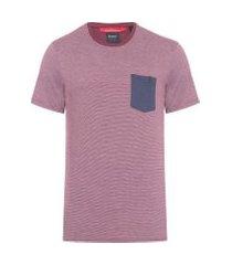 camiseta masculina listras bolso - vermelho
