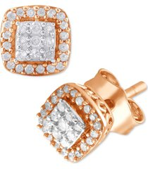 diamond cluster halo cushion stud earrings (1/6 ct. t.w.) in rose gold-plated sterling silver