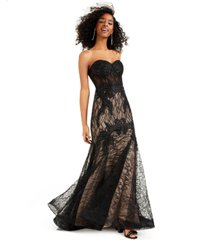 blondie nites juniors' strapless lace corset gown, created for macy's