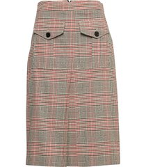 heritage chk a-line skirt knälång kjol rosa calvin klein