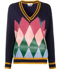 ballantyne diamond airbrush sweater - blue