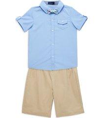 andy & evan little boy's 3-piece shirt, shorts & bow tie set - light blue - size 4t