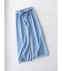 light blue denim crop palazzo pants trousers light blue loose wide leg pants nwt