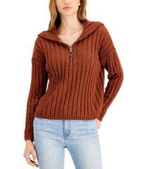 hippie rose juniors' chenille half-zip hoodie sweater