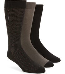 men's polo ralph lauren assorted 3-pack supersoft dress socks, size one size - black