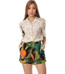 camisã£o clara arruda viscose estampada 20730 - 38 - jardim multicolorido - multicolorido - feminino - viscose - dafiti