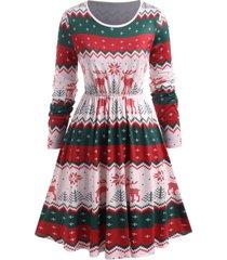 plus size snowflake elk print christmas dress