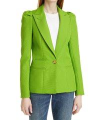 women's smythe box pleat puff sleeve blazer, size 4 - green