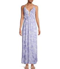 tiare hawaii women's sway tie-dye maxi coverup dress - soft indigo