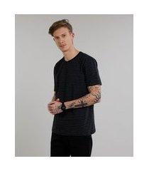 camiseta masculina básica listrada manga curta gola careca preta