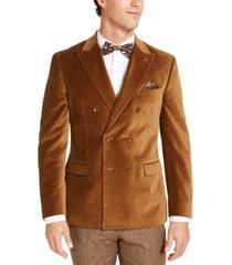bar iii men's slim-fit velvet double-breasted sport coat, created for macy's