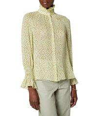 women's joie dea silk funnel neck button-up shirt, size xx-small - green