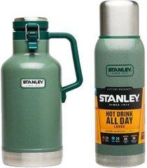 garrafa growler térmico 1,9l + garrafa térmica stanley 1 litro adventure