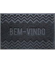 capacho vinílico zigzag 60x40cm cinza dark gray