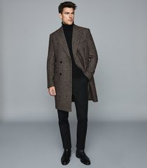 reiss merit - checked double breasted coat in brown, mens, size xxl