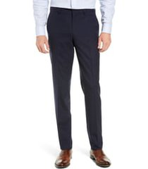 men's nordstrom tech-smart slim fit stretch wool dress pants, size 32 x unhemmed - blue