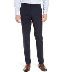 men's nordstrom men's shop tech-smart slim fit stretch wool dress pants, size 32 x unhemmed - blue