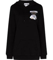 moschino teddy bear logo-print hoodie - black