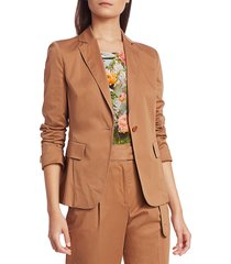 akris punto women's one button stretch satin jacket - terra - size 8