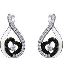 orecchini a goccia e cuore in argento rodiato e zirconi bianchi e neri per donna