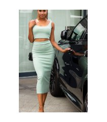 sexy set crop-top en midi rok groen
