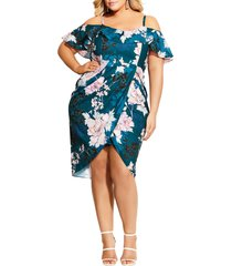 plus size women's city chic english blossom cold shoulder ruffle sheath dress