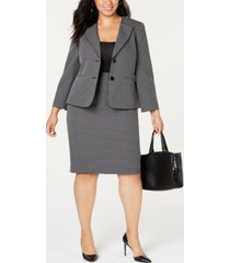 le suit plus size geo-plaid skirt suit