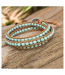 serpentine and leather wrap bracelet, 'blue caramel' (thailand)