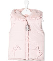 lapin house fur hooded gilet - pink