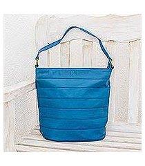 leather shoulder bag, 'ocean blue' (nicaragua)